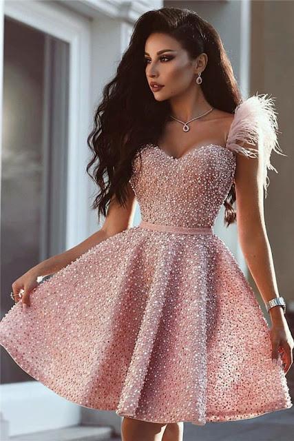 Full Beads Pink Short Evening Dress 2019 | Sleeveless Luxury Cute Fur Homecoming Dress