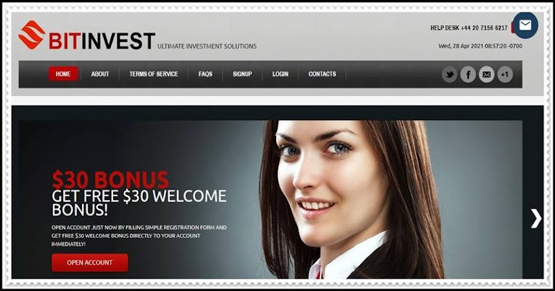 Мошеннический сайт bit-invest.com – Отзывы, развод, платит или лохотрон? Мошенники