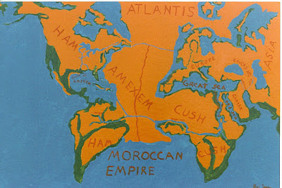 ancient atlantis or amexen map showing connection of the continents