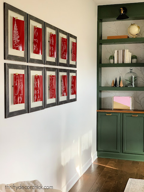 Gallery wall with red holiday printables