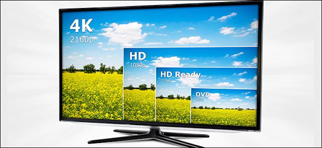تلفزيون 4K يعرض أربعة قرارات من نفس الفيديو.