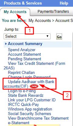 आधार नंबर को  SBI Bank Account में कैसे Link करें.