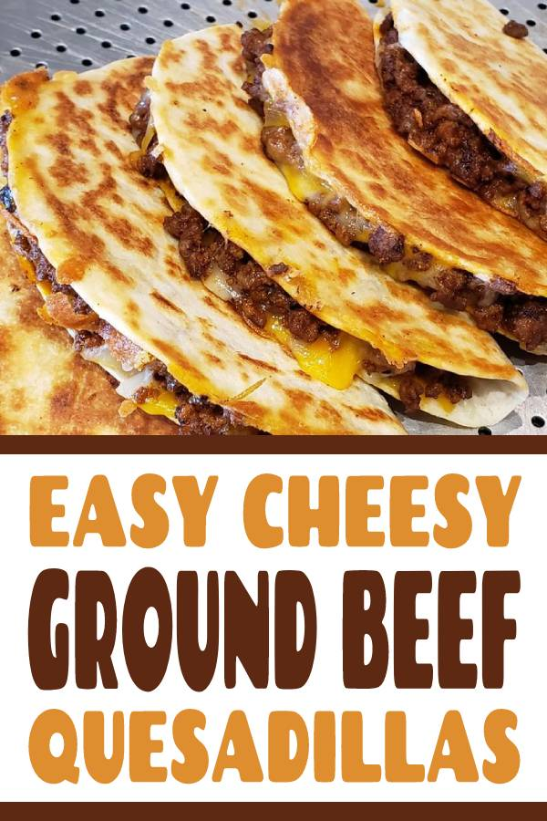 These ground beef quesadillas are jam packed with flavourful beef and lots of cheese. They're super easy to make and disappear fast! #howtomakequesadillas #groundbeefquesadillas #easyquesadillasrecipe #cheesyquesadillas #cheesybeefquesadillas