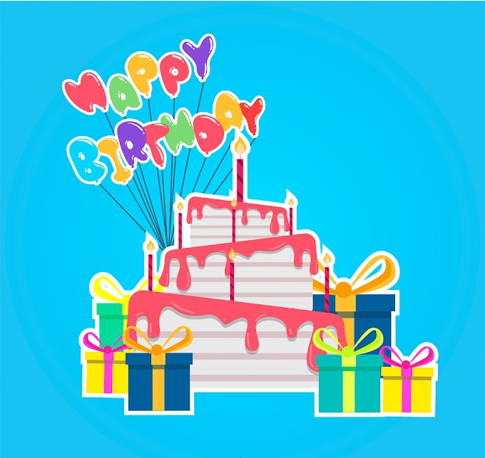 Colorful birthday cake and gift box stickers free vector illustration