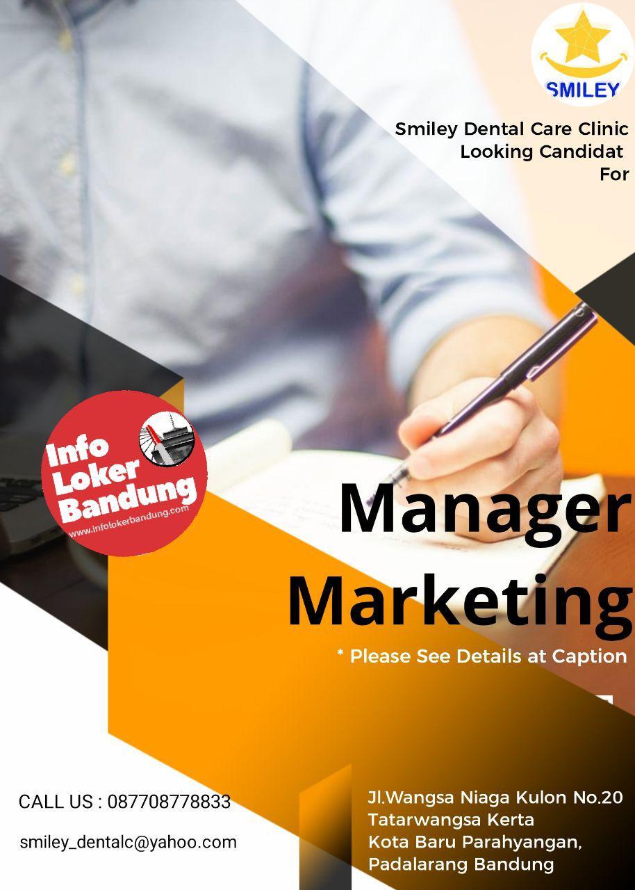 Lowongan Kerja Manager Marketing Smiley Dental Care Clinic Bandung Januari 2018