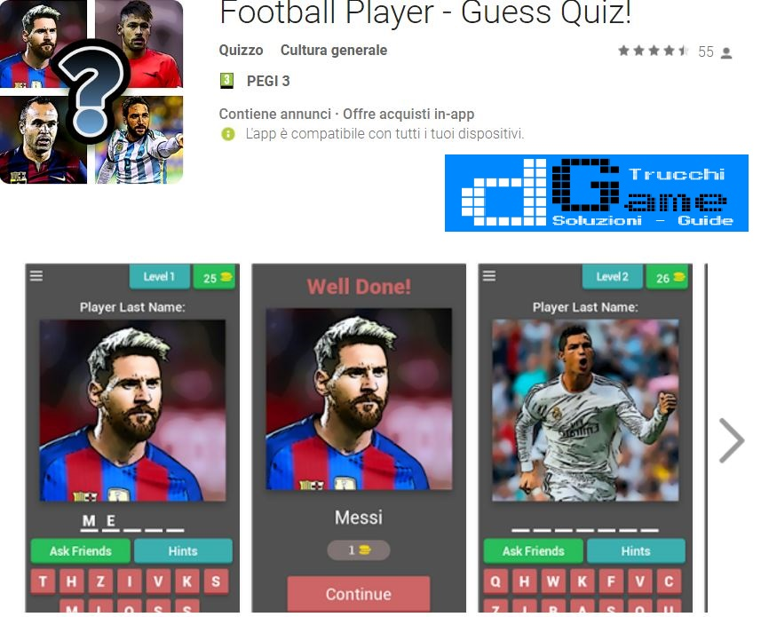 Soluzioni Football Player - Guess Quiz! | Screenshot Livelli con Risposte