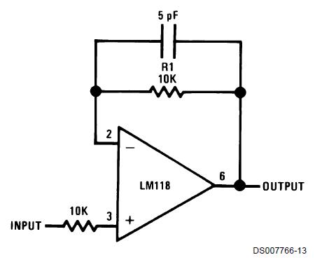 Matthew's Mumblings: Improving an LM318 Op-Amp Follower by