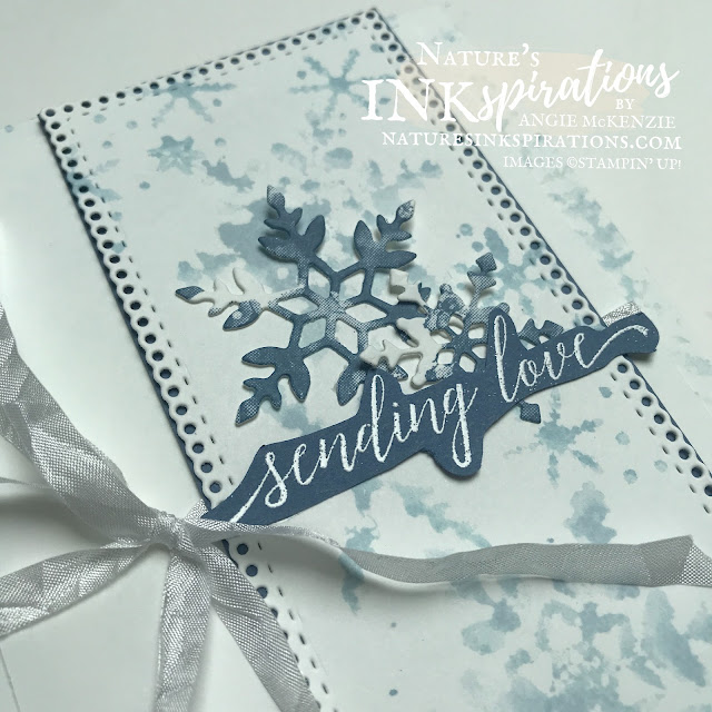 By Angie McKenzie for Ink.Stamp.Share Monthly Blog Hop; Click READ or VISIT to go to my blog for details! Featuring the Snowflake Wishes Photopolymer Stamp Set, the Artistically Inked Cling Stamp Set, and the Ornate Layers Dies in the 2021-2022 Annual Catalog PLUS a SNEAK PEEK of the Heartlfelf Wishes Cling Stamp Set from the July-December 2021 Mini Catalog by Stampin' Up!® to create a Christmas card and envelope; #stampinup #cardtechniques #cardmaking #snowflakewishes #somanysnowflakes #artisticallyinked #ornatelayers #christmascard #watercolorkissing #stampingtechniques  #stampinupincolor #inkstampsharemonthlybloghop #naturesinkspirations #crinkledseambindingribbon #coloringwithink #diycards #handmadecards #christmasinjuly #snowflakekisses