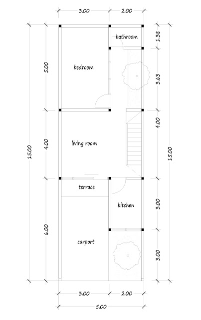 1st floor plan of narrow house 11