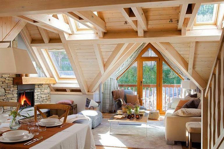 Decora interi decora o de casas de madeira modernas - Pared rustica interior ...