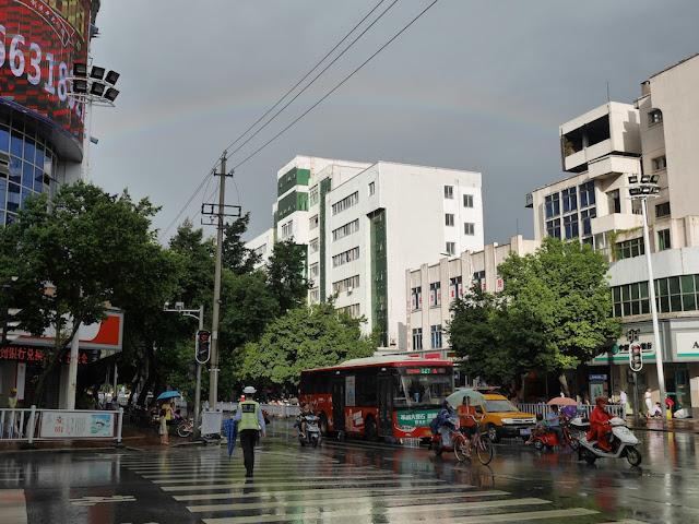 rainbow over Meilin Street (梅林大街) in Ganxian, Ganzhou (赣州赣县)