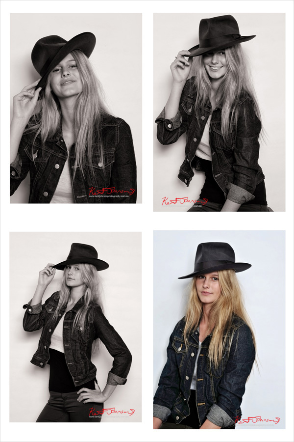 Series of four mid headshot pictures of Caitlin playing with Akubra Hat. Modelling Portfolio shoot by Kent Johnson.