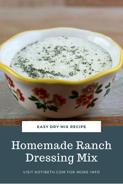 How to make ranch dressing mix.  This Hidden Valley copycat recipe dry has many uses.  Use for chicken or pork chop dinners or make ranch dressing or a dip. Uses buttermilk and dried spcies for an easy DIY recipe.  Making homemade mixes saves money, tastes better, and don't have preservatives because it has natural ingredients.  #ranch #ranchmix #recipe