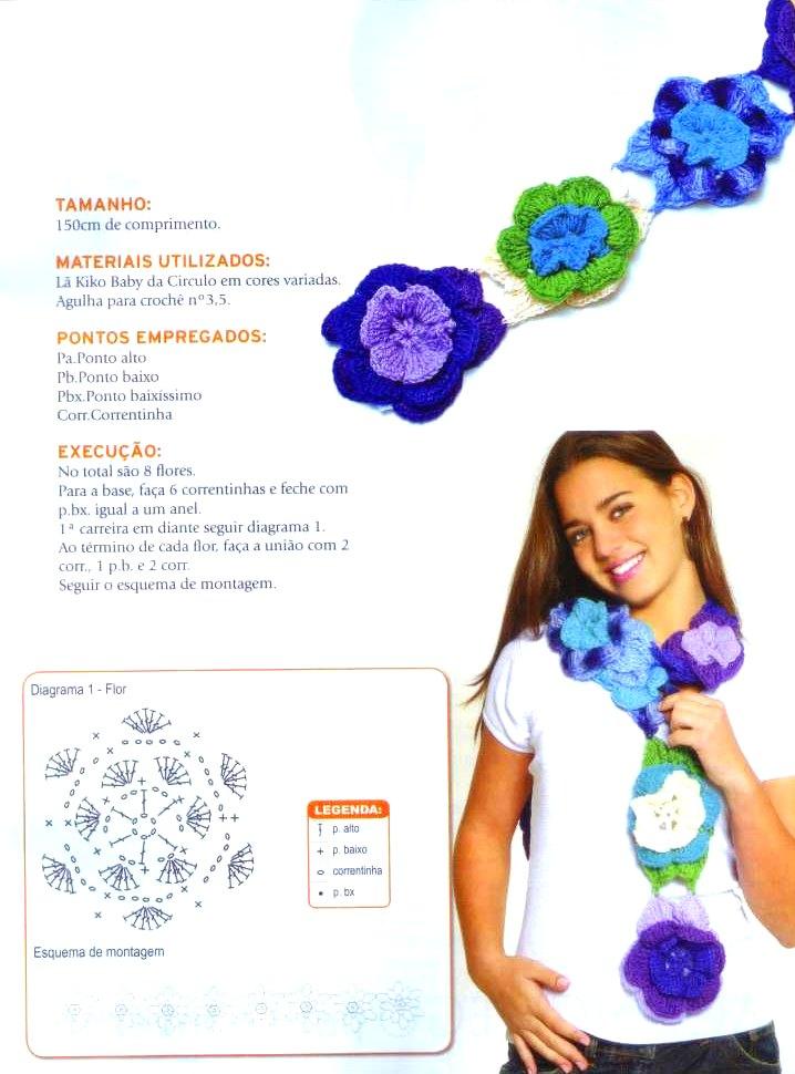 Bufanda de Flores en Crochet