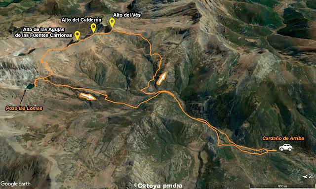 Mapa de la ruta señalizada al Pozo de las Lomas en circular desde Cardaño de Arriba en la Montaña Palentina,
