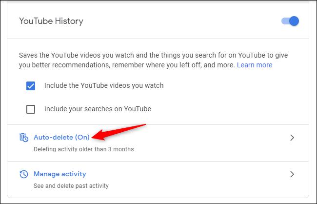 عناصر تحكم الحذف التلقائي لسجل YouTube في حساب Google.