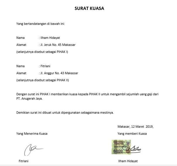 ontoh Surat Kuasa Bermaterai (via: rumah.com)