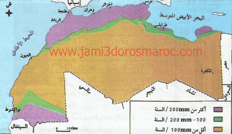 خريطة التساقطات المطرية في المغرب العربي