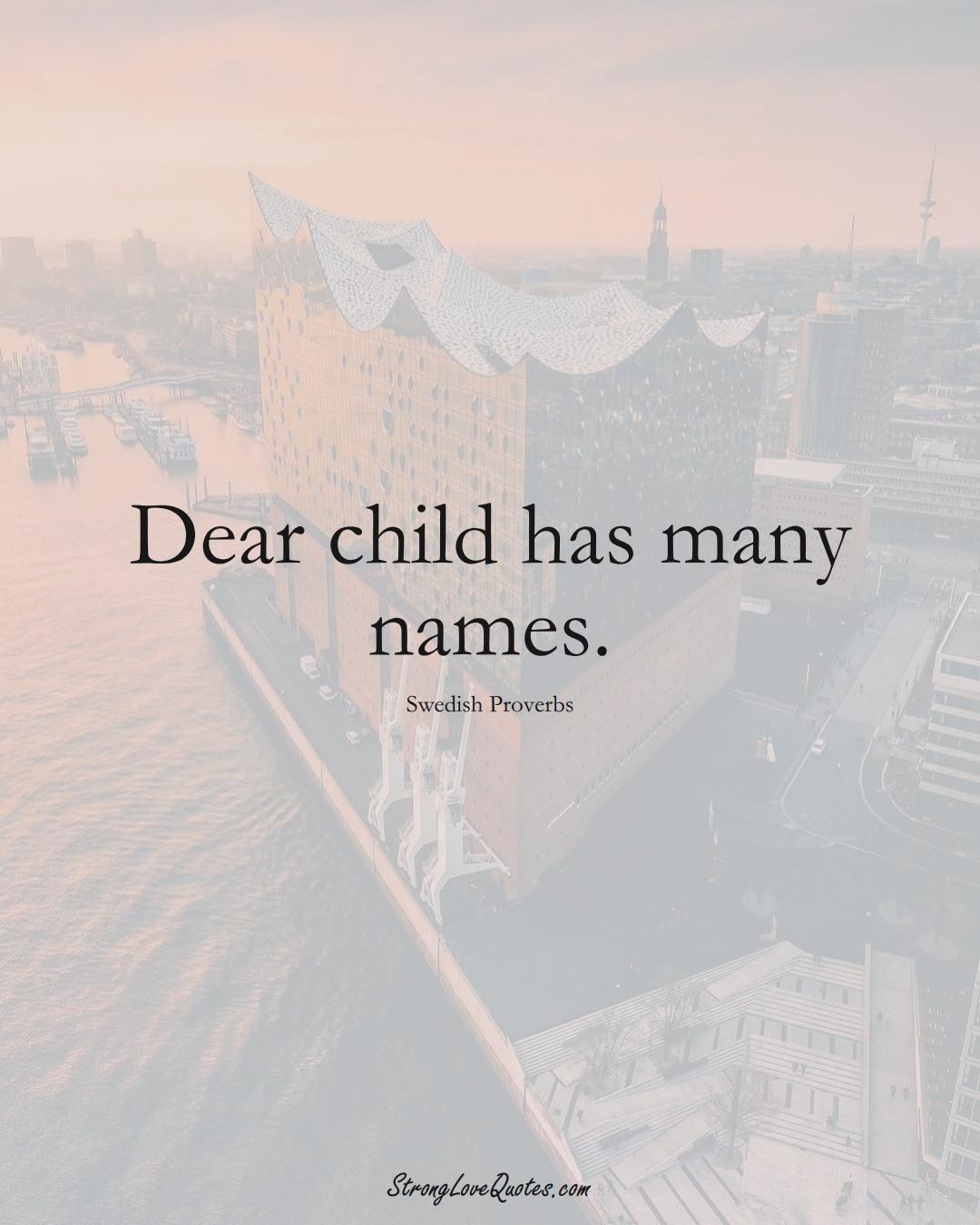 Dear child has many names. (Swedish Sayings);  #EuropeanSayings