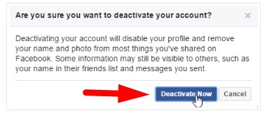how to deactivate facebook account in mobile