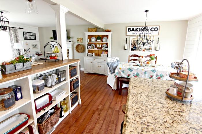 DIY white farmhouse style kitchen with Ikea Hack kitchen storage - www.goldenboysandme.com