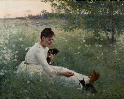 Girl with Cats in a Summer Landscape (1892), Elin Danielson-Gambogi