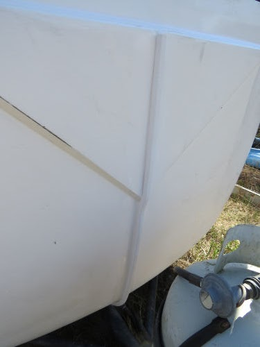 section of Trim Loc on a fiberglass trailer
