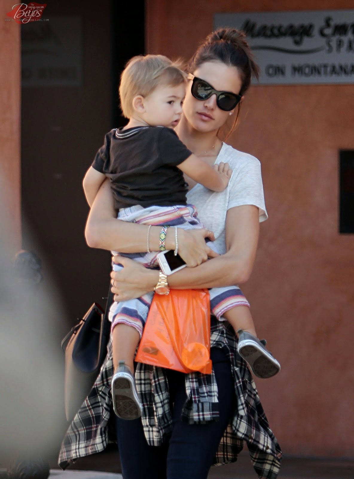Alessandra Ambrosio And Her Son Noah Phoenix Ambrosio Mazur Step Out