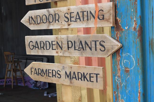 Signpost at Solas Eco Garden Shop