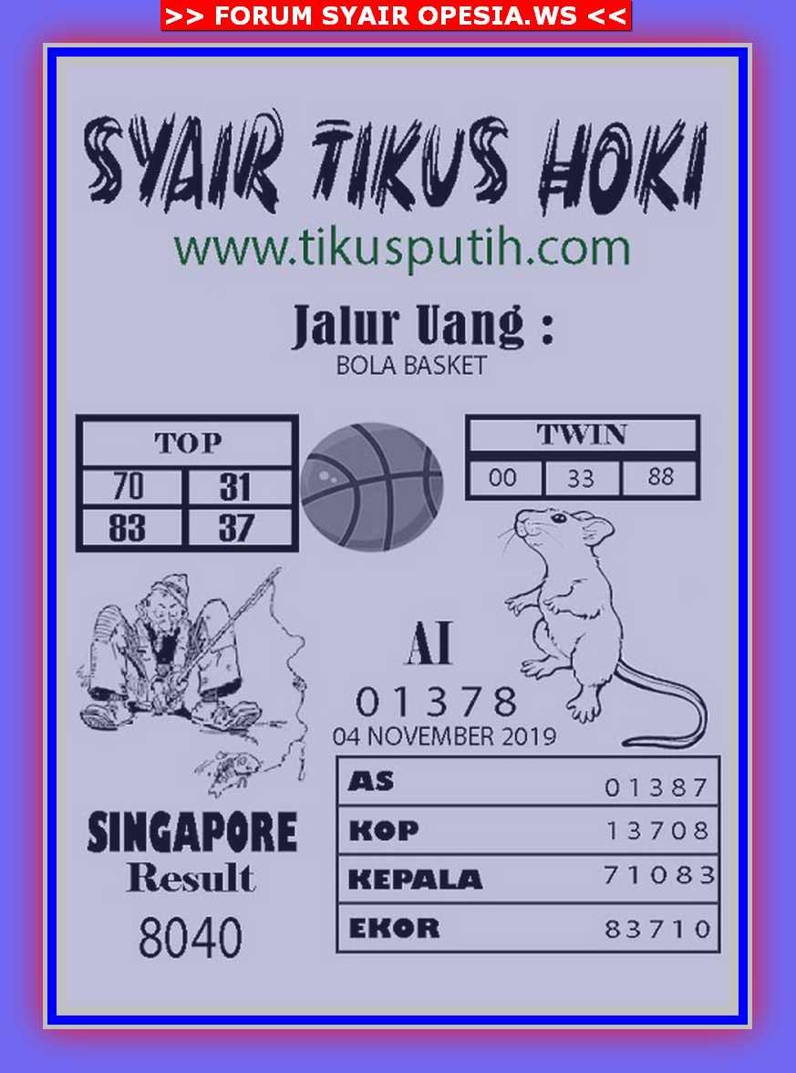 Kode syair Singapore Senin 4 November 2019 79
