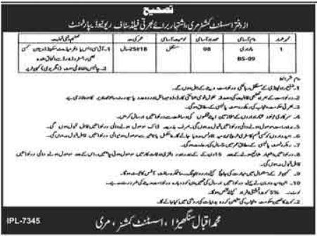 Revenue Department Jobs 2021 For Patwari In Murree Revenue Department