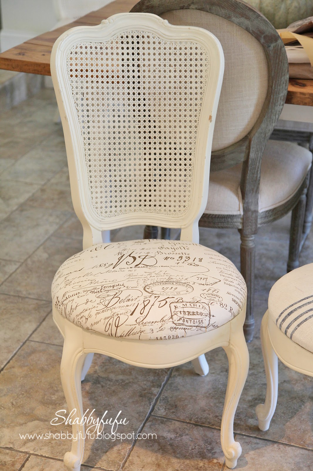 french script chairs