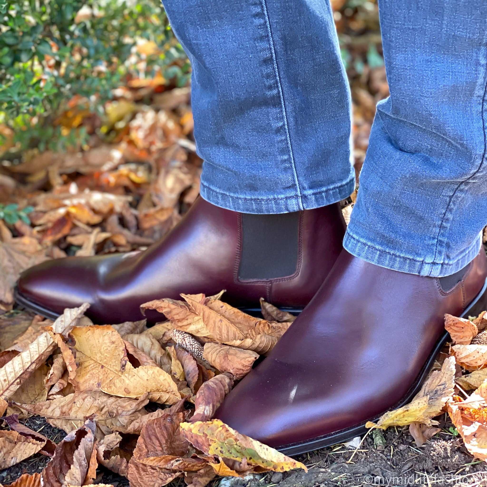 my midlife fashion, hawes and Curtis mens burgundy leather Chelsea boot