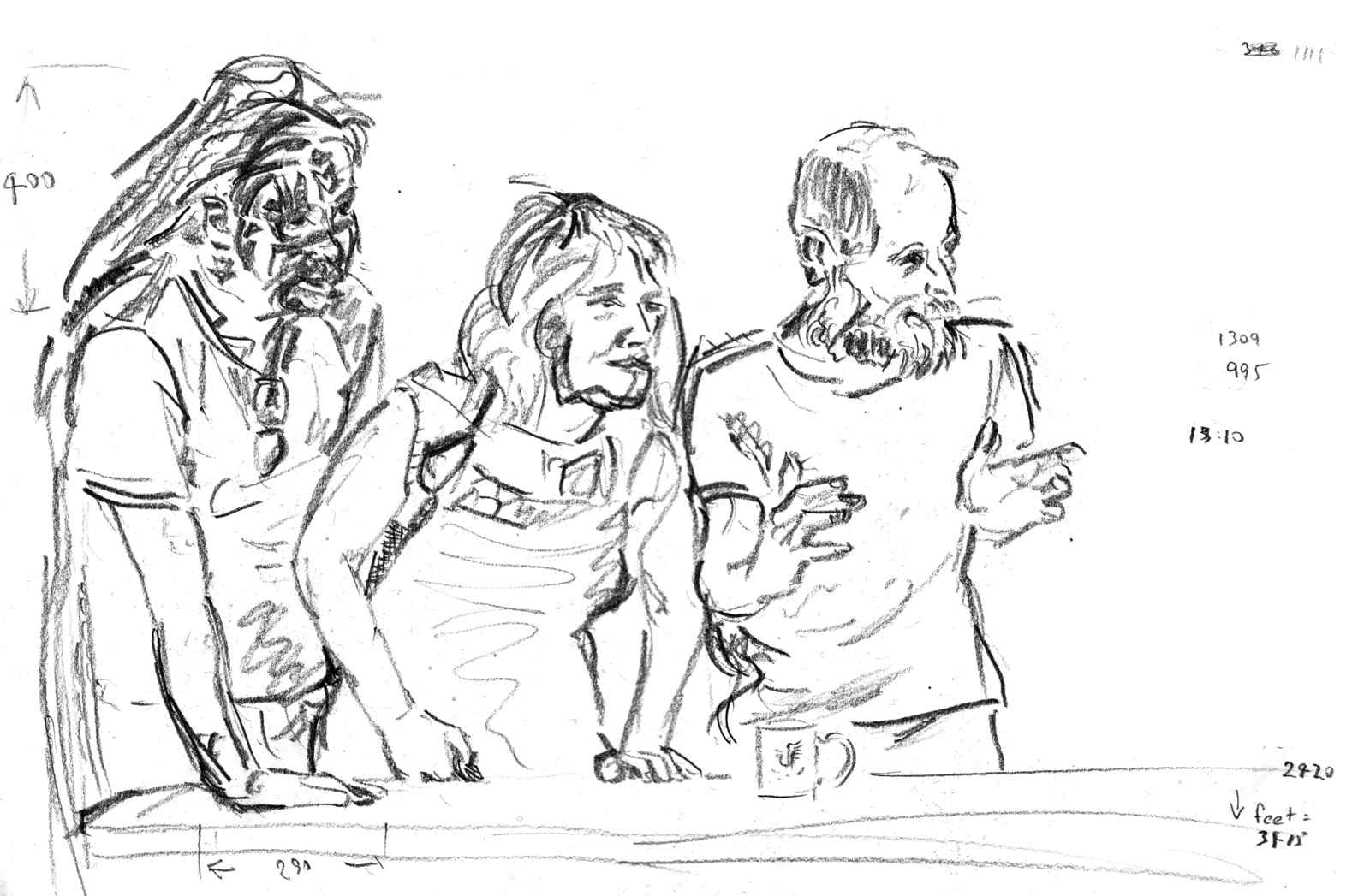 Last Supper at the Newtown Mission: some apostle sketches