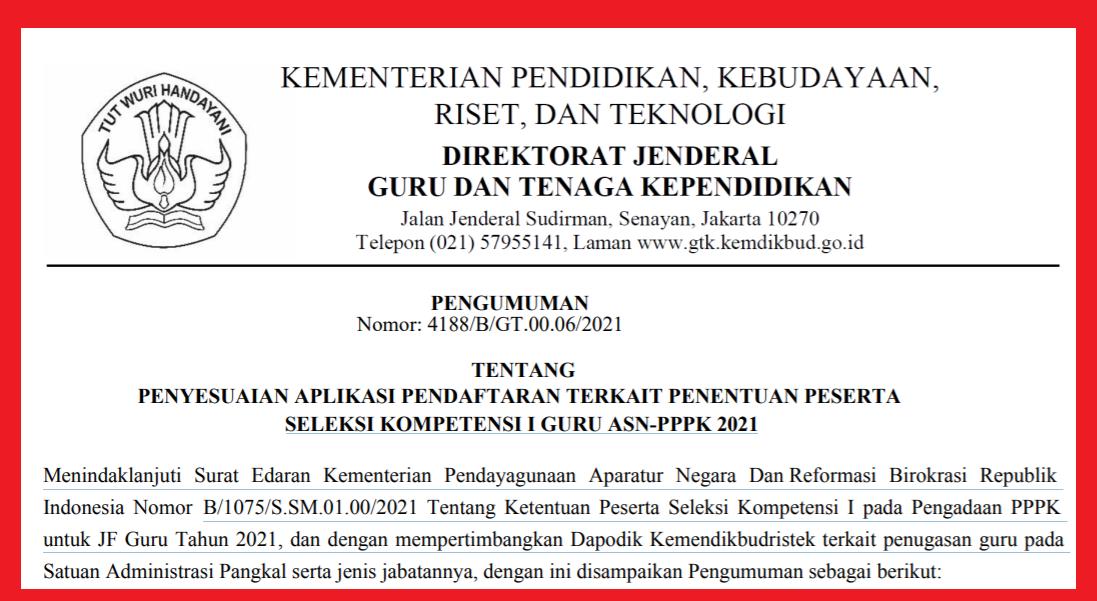 gambar edaran pppk guru 2021