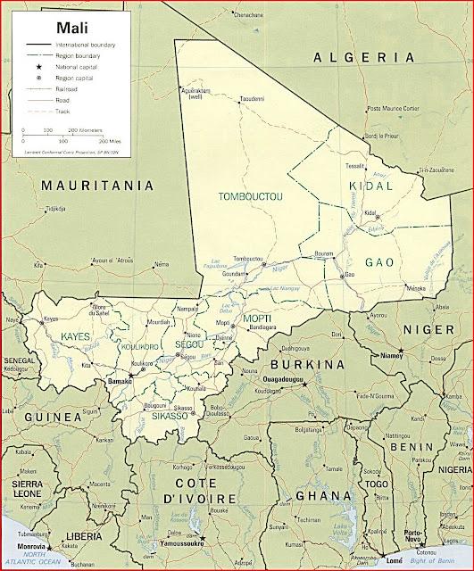 Gambar Peta politik Mali tahun 1994