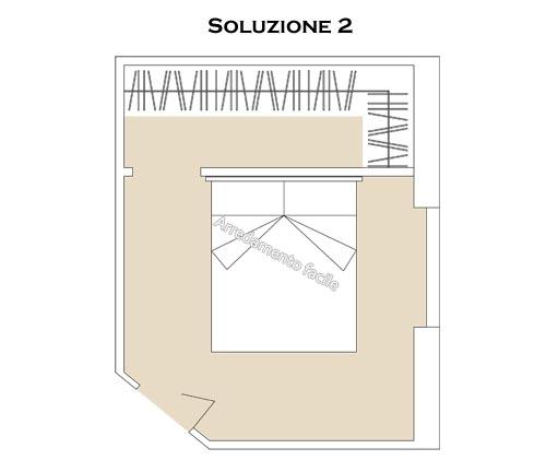 Progetto di una cabina armadio usata come testata di un letto