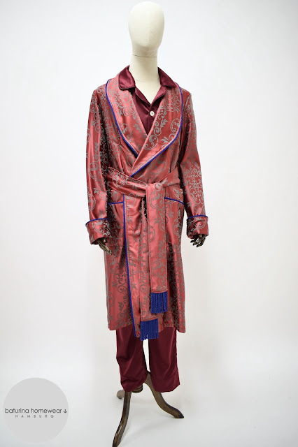 mens red paisley morning robe luxury vintage dressing gown cotton jacquard burgundy long housecoat