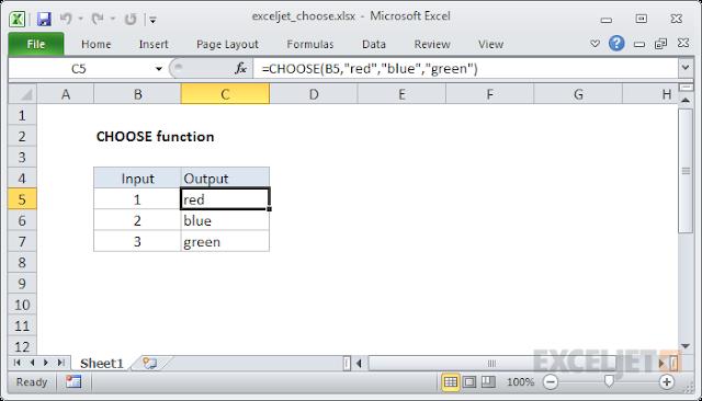 صيغ الدالة CHOOSE واستخدامها في برنامج Microsoft Excel