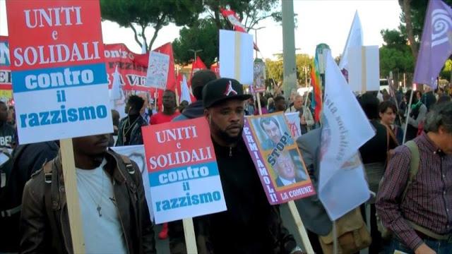 Se manifiestan en contra del racismo en Italia