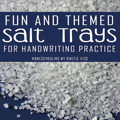 Lots of Montessori salt tray ideas if fun themes