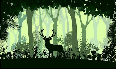 Illustration of green forest with a deer