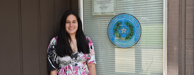 Photo of Kaitlin Ehrhart at the TDCJ Parole Office in Huntsville.