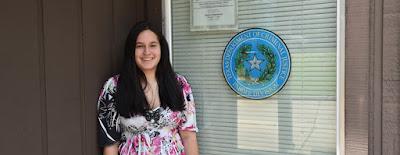 Photo of Kaitlin Ehrhart at the TDCJ Parole Office in Huntsville.