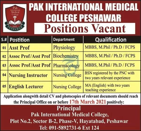 Pak International Medical College Peshawar   Medical Jobs 2021  Pak International Medical College Peshawar   Medical Jobs 2021