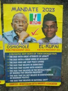 """Oshiomhole for President, El-Rufai for VP"" poster spotted in Lagos"