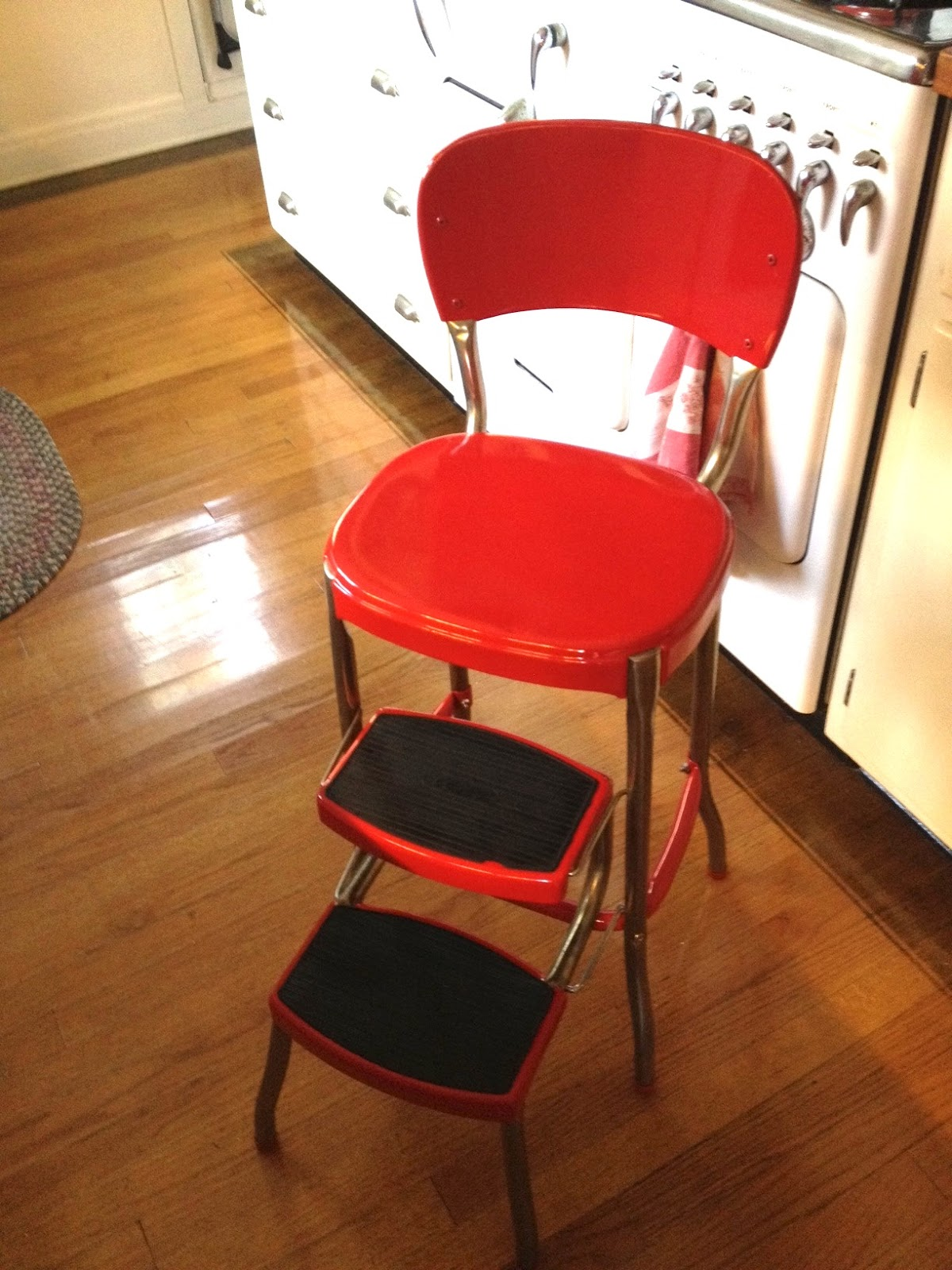 kitchen step stool with seat cabinets san jose tales from a sears house cosco makeover