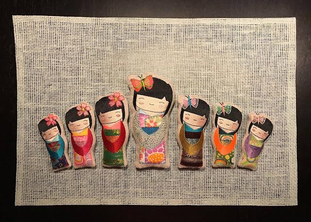 wzory laleczek kokeshi