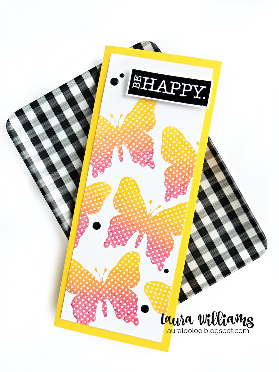 Handmade card making ideas - slimline cards! have you made a slimline card before? If you love making handmade cards you'll love this fresh size and format for card making. Click to see all the basics on crafting up a slimline card, plus get the details on this polka dotted butterfly card, using stamps from Impression Obsession.