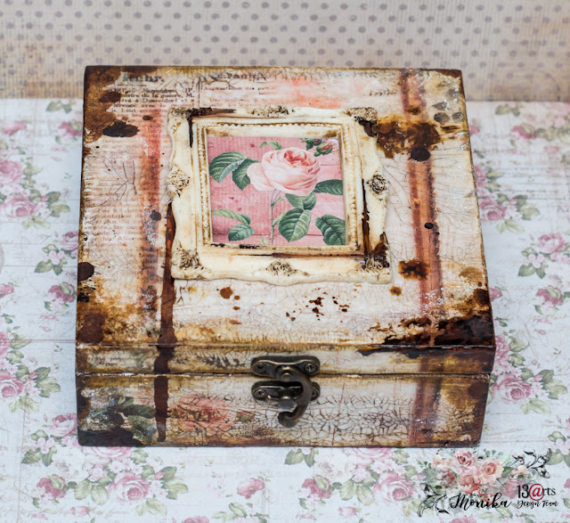 Retro szkatułka z różami/ Retro wooden box with roses